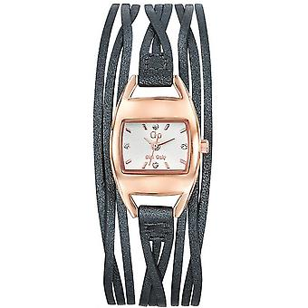 Watch Go Girl Only 698774 - Grey Leather Bracelet Box Steel Dor Women