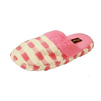 Coolers Womens Embossed Check Fleece Lined Mule Slippers
