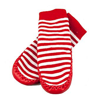 SKEANIE Leather and Cotton Moccasin Baby Socks Red Stripes