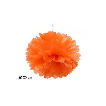 Party favoriserer Pompom lampion orange 25cm