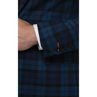 Avail London Mens Blue Suit Jacket Skinny Fit Tartan Check