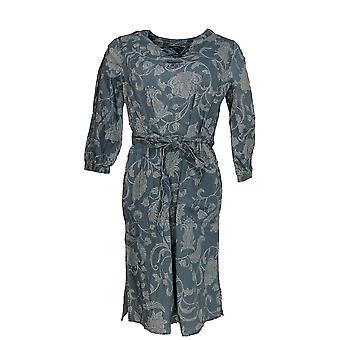 Isaac Mizrahi Live! Dress Zero TRUE DENIM Floral Printed Blue A303212