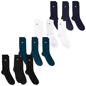 Lacoste Mens 2020 Classic Crew Ribbed Reinforced Pique Crocodile 3 Pack Socks