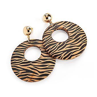 Gold Colour Brown Tone Animal Print 4.5cm Round Earrings