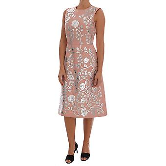 Dolce & Gabbana Pink Wool Silver Floral Leather Dress