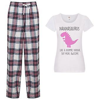 Hyvät Nannasaurus Nanna Dinosaur Tartan Housut Pyjamat