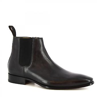 Leonardo Shoes Men's handmade classy ankle boots in gray calf leather