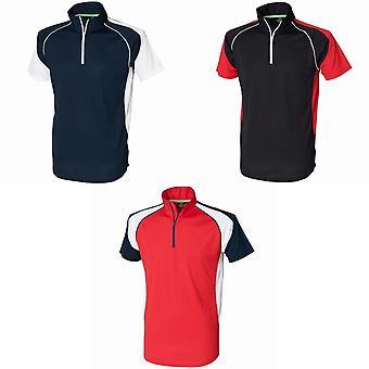Tombo Teamsport Mens Panel Zip Neck sport Polo Shirt