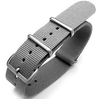 Strapcode n.a.t.o watch strap 20mm or 22mm nato heat sealed heavy nylon brushed buckle - light m. grey