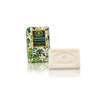Saponificio Artigianale Fiorentino Sapone fatto a mano - Gelsomino - Fragranza Floreale Avvolto amorevolmente in Carta confezionamento regalo 150g