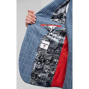 Lambretta Mens Light Blue Check 3 Piece Suit Slim Fit