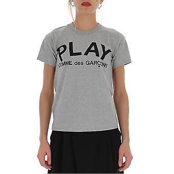Comme Des Garçons Play P1t0791 Women's Grey Cotton T-shirt