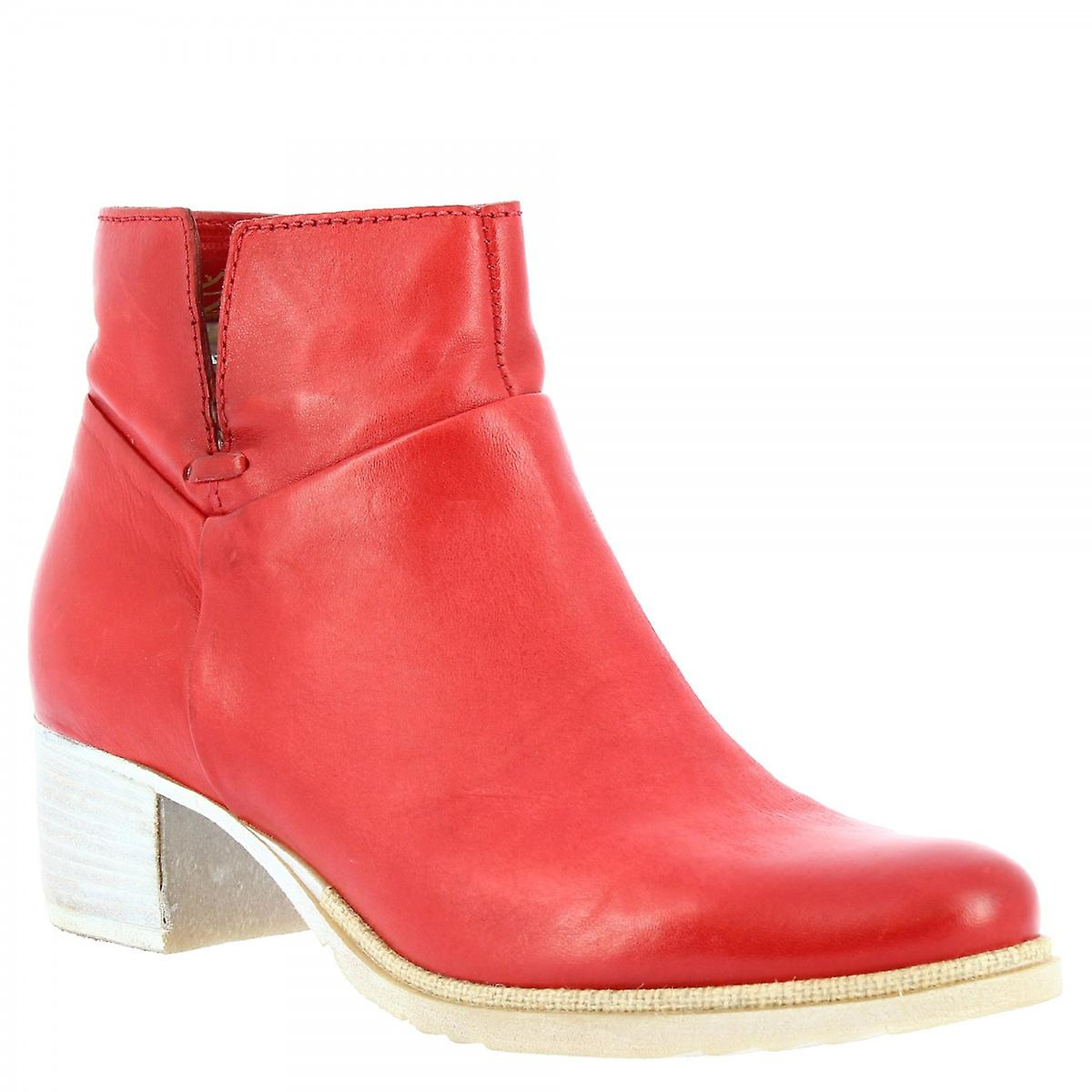 Leonardo Shoes Women's handmade low heel ankle boots red calf leather side zip N3G3Q