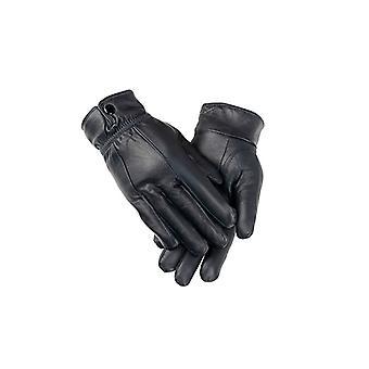 Ladies Navy Elasticated Stud Fasten Leather Gloves
