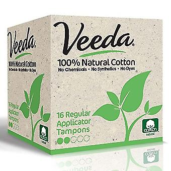Veeda 100% natural cotton tampons with applicator, regular, 16 ea