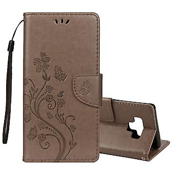 For Galaxy Note 9 Case Grey Embossed Butterfly Pattern Folio Leather Cover