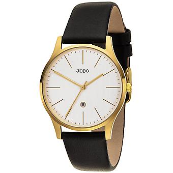 JOBO reloj de pulsera de mujer cuarzo analógico acero inoxidable plateado correa de cuero fecha
