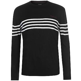 Pierre Cardin Mens Striped Chest Crew Knit Long Sleeve Top Jumper Sweater