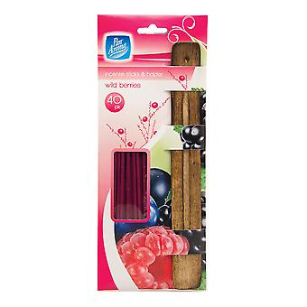 Pack Of 40 Incense Sticks With Ash Catcher / Holder ~ Wild Berries