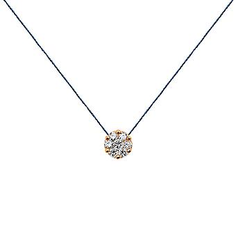 Choker Flower Cluster 18K Gold and Diamonds, on Thread - Rose Gold, NavyBlue