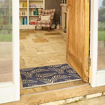 Leaf Scroll Doormats In Blue By Turtlemat