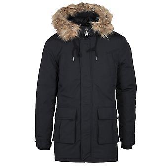 Schott Faux Fur Hood Black Padded Jacket