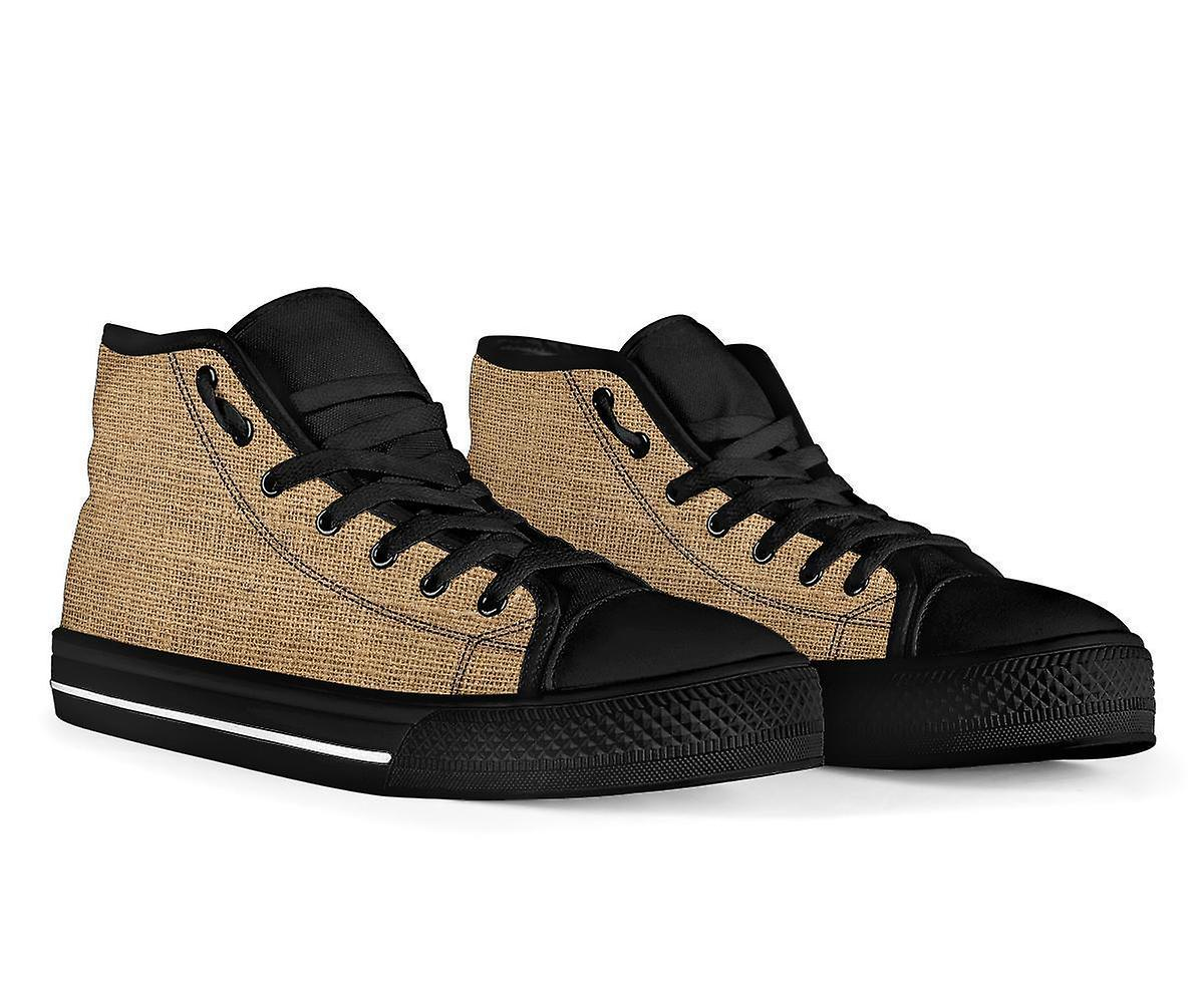 High Top Shoes | Rugged Linen Print (Black)