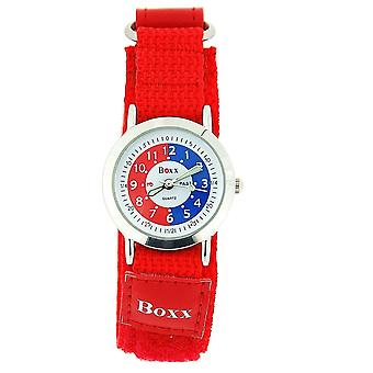 Boxx Girls Time Teacher Analogue Red & White Dial Easy Fasten Strap Kids Watch