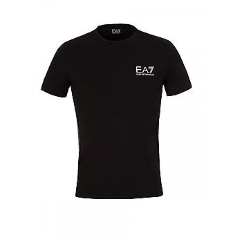 EA7 Emporio Armani Cotton Stripped Black T-shirt