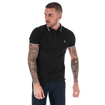 Men's Timberland Millers River Tipped Polo Shirt in schwarz