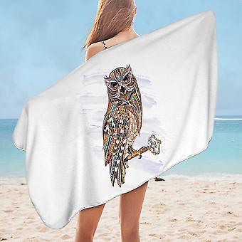 Multi Colored Owl Microfiber Beach Towel