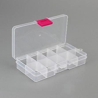 Grids Compartments Plastic Transparent Organizer Jewel Bead Case Cover
