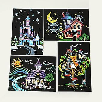 Children Diy Scratch Paintings Cartoon Postcard Art Drawings 4pcs