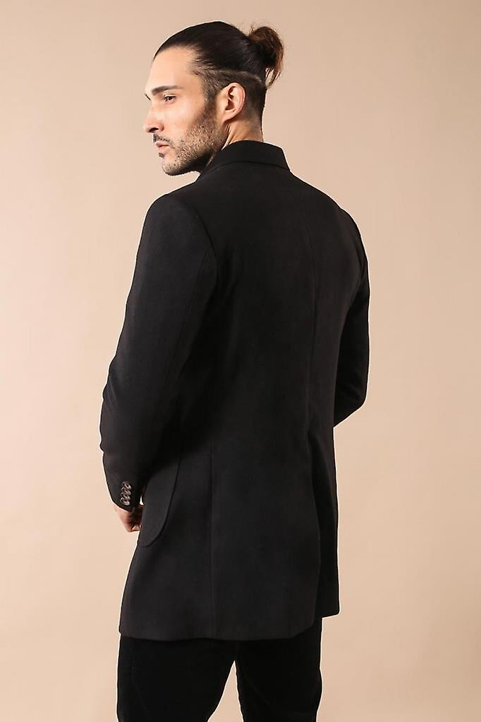 Double-breasted black coat