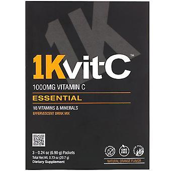 1Kvit-C, Vitamin C, Essential, Effervescent Drink Mix, Natural Orange Flavor, 1,