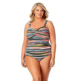 Anne Cole Women's Plus Size Twist Front Shirred One Piece Swimsuit, Sand Stri...