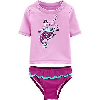 Carter's Baby Girls Rashguard Swim Set, Purmaid, 3 Months