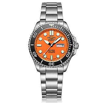 Rotary Super 7 SCUBA Automatic Orange Dial Silver Stainless Steel Bracelet Men's Dive Watch S7S002B