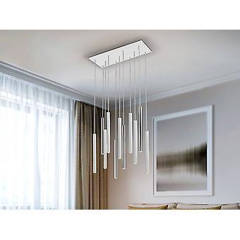 Geïntegreerde LED 11 Licht Dimbare Cluster Drop Bar Plafond hanger Mat Wit, Chrome
