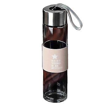 Haute borosilicate Clair Verre Bouteille d'eau Rose fond épais