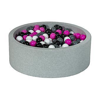 Poço de bola 90 cm com 450 bolas pretas, brancas, roxas e cinza