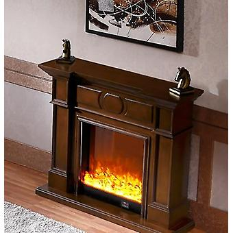 Wooden Mantel With Electric Fireplace - Insert Artificial Firebox Burner