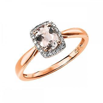 エレメントゴールドエレメンツ9ct ローズゴールドダイヤモンドとモルガマイトリングGR517P