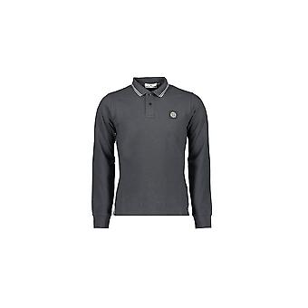Stone Island Baumwolle dunkelgrau Langarm Polo Shirt