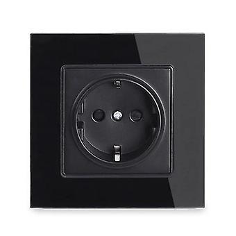 Wall Crystal Glass Panel Power Socket Plug Grounded, 16a Black Eu Standard