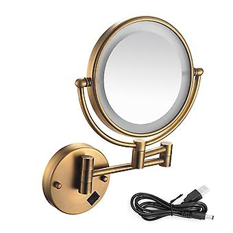 Led oplyste drejelige arm, antikke bronze og massiv messing forstørre Makeup Mirror