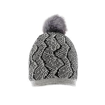 Reptile Pattern Knitted Hat with Faux Fur Pom Pom