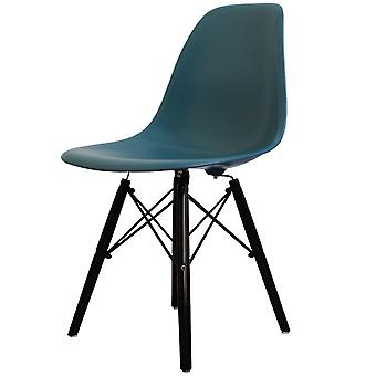 Charles Eames Style Teal Plastic Retro Side Chair Black Wooden Legs