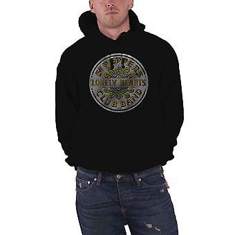 The Beatles Hoodie Sgt Pepper vintage logo new Official Mens Black Pullover