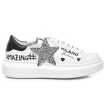 Gio+ Bianche Sneakers With Strass Star and Graffiti